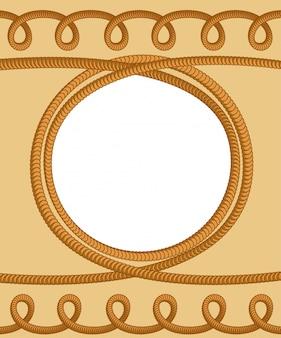 Corde corde. boucles et anneaux de corde. corde tressée épaisse et noeuds. thème marine cadre