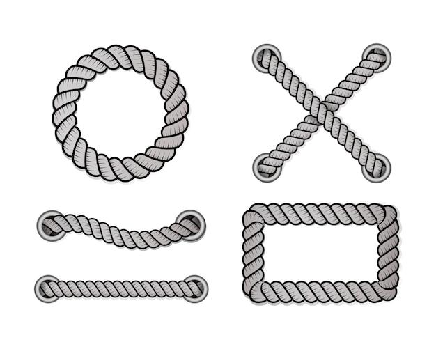 Corde de décoration et de revêtement, nœuds nautiques torsadés.
