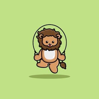 Corde à sauter de jeu de lion mignon heureux