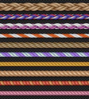 Cordes droites sans faille et cordes isolées sur fond transparent.