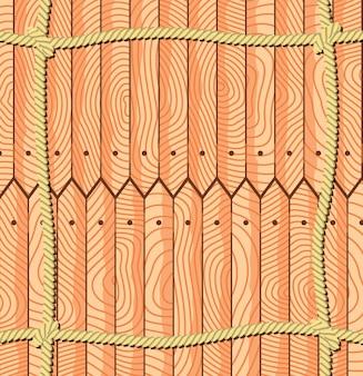 Cordes sur les planches de clôture