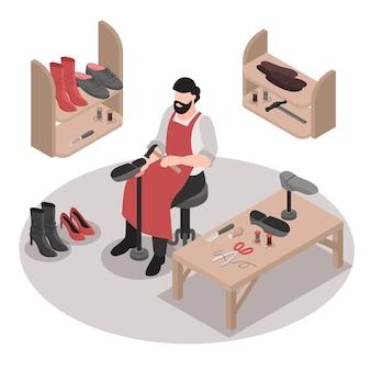 Cordonnier isométrique réparant des chaussures à la main illustration