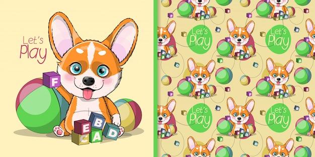 Corgi de chien de dessin animé mignon jouant avec la boîte de l'alphabet et la balle