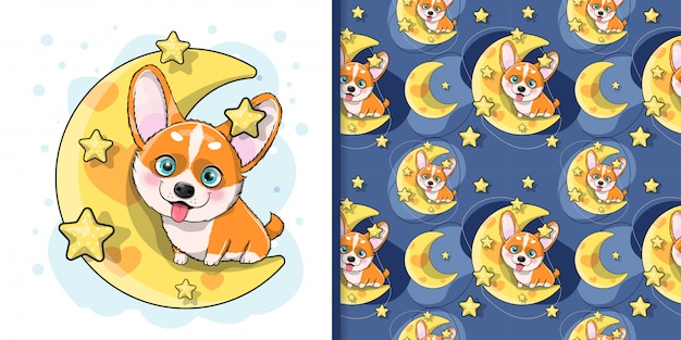 Corgi de chien de dessin animé mignon avec lune et étoiles