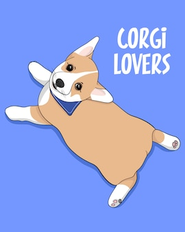 Corgi lovers, illustration de corgi mignon dessiné à la main