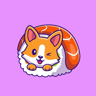 Corgi mignon en sushi roll cartoon icon illustration.