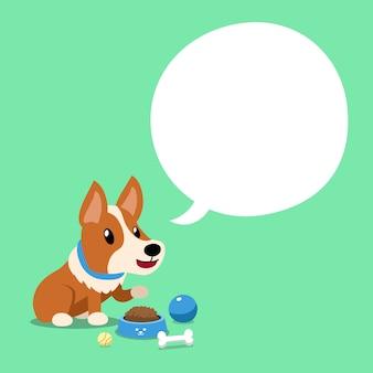 Corgi de personnage de dessin animé de vecteur avec bulle de dialogue