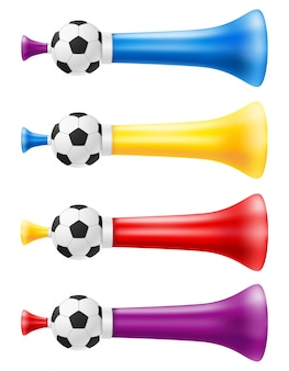 Corne attribut football football et illustration de fans de sport