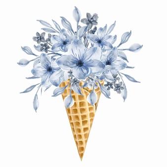 Cornet de crème glacée bouquet de fleurs sauvages bleues