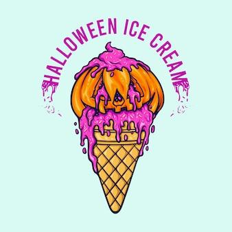 Cornet de crème glacée à la citrouille d'halloween