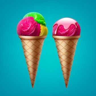 Cornet de crème glacée avec une cuillère dans le glaçage et cornet de crème glacée avec trois boules de saveur différente