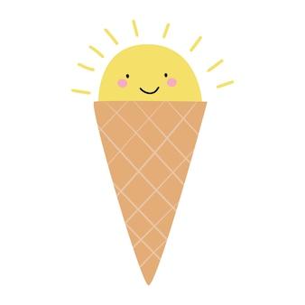 Cornet de crème glacée en forme de soleil crème glacée de dessin animé mignon vector illustration plate
