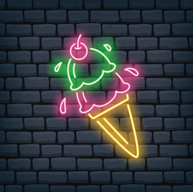 Cornet de crème glacée en illustration vectorielle effet néon