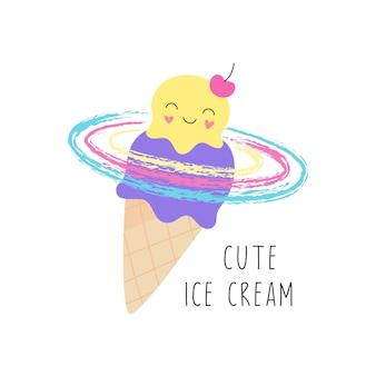 Cornet de crème glacée mignon. le caractère doux sourit.