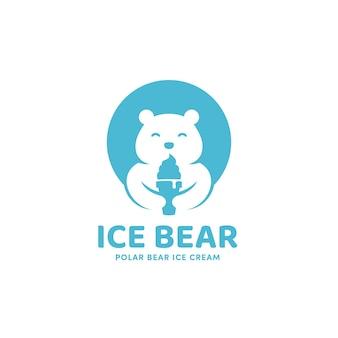 Cornet de crème glacée d'ours de glace avec le modèle d'icône de logo de mascotte d'ours polaire