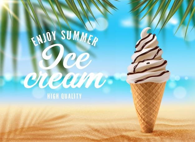 Cornet de crème glacée à la vanille sur la plage de palmiers, annonce vectorielle