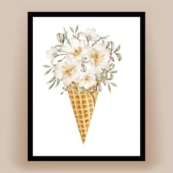 Cornet de glace avec aquarelle belle fleur de magnolia