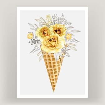 Cornet de glace avec fleur aquarelle rose or jaune