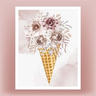 Cornet de glace avec fleur aquarelle terre cuite