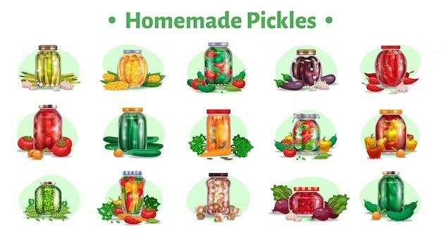 Cornichons ensemble horizontal de quinze images isolées avec des légumes marinés dans des bocaux en verre avec illustration de fruits mûrs