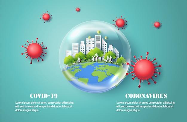 Corona virus disease covid-19, style art papier de bulle d'eau avec la ville à l'intérieur, protège votre santé et celle de votre famille.