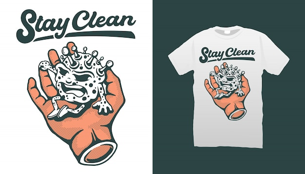 Corona virus sitting on hand with quote stay clean tshirt design
