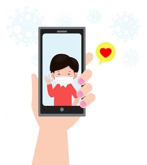 Coronavirus 2019-ncov ou covid-19 personnes vidéo conférence à la communication sur smartphone, couple personne main tenant smartphone appel vidéo, concept de relation longue distance isolé
