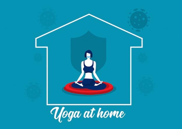 Coronavirus 2019-ncov quarantine. femme faisant du yoga ou de la méditation à la maison vecteur.