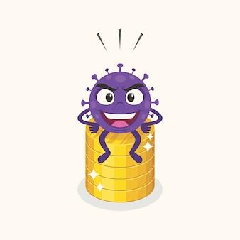Coronavirus assis sur une pièce de monnaie