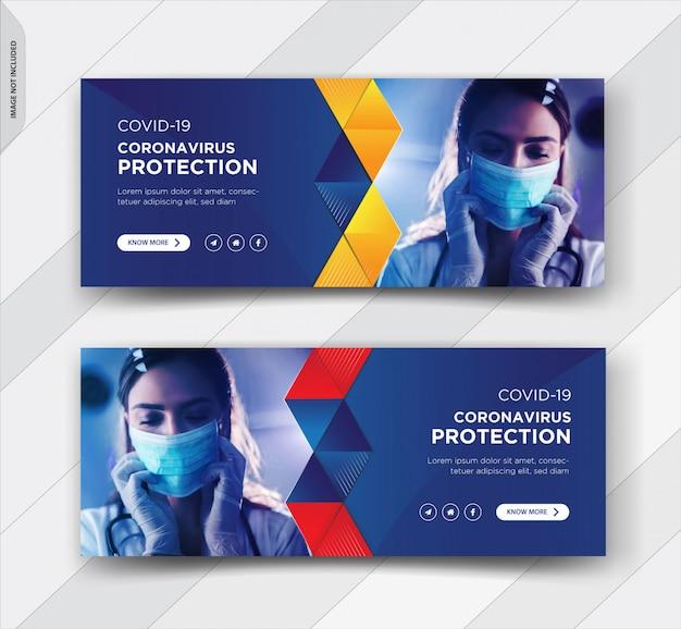 Coronavirus avertissement conception de la couverture facebook