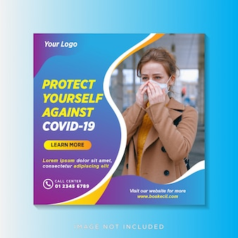 Coronavirus ou bannière de prévention covid-19 ou flyer carré pour le modèle de publication instagram des médias sociaux