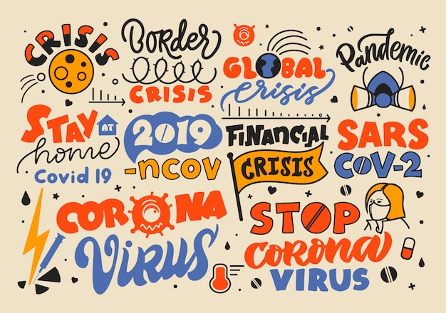 Coronavirus covid-19 2019-ncov. ensemble coloré de phrases de lettrage, emblèmes, logos, texte dessiné à la main, icônes. infographie d'arrêt pandémique.
