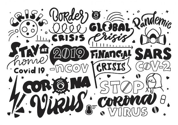 Coronavirus covid-19 2019-ncov. ensemble de phrases de lettrage, emblèmes, logos, texte dessiné à la main, icônes. infographie d'arrêt pandémique sur fond blanc.