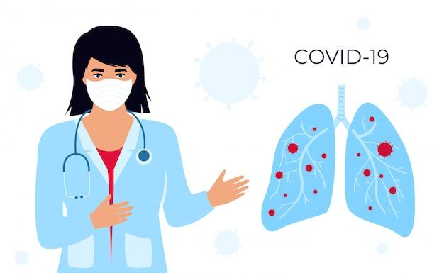 Coronavirus (covid-19. une femme médecin avec des lunettes et une blouse médicale parle du virus chinois. poumons infectés. bannière horizontale. symptômes. maladie humaine. rhume et inflammation. pneumonie.
