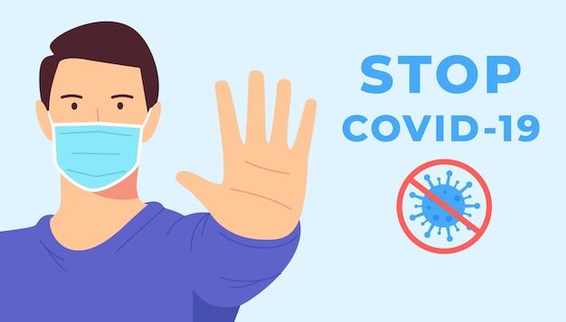 Coronavirus, covid, ncov, arrêt, concept de protection de la santé.