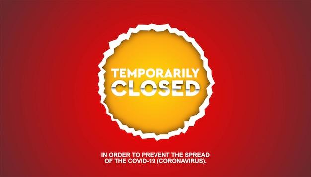 Coronavirus fermé temporairement le modèle papercut.
