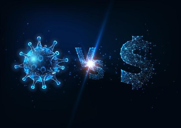 Coronavirus futuriste contre le concept de lutte contre le marché financier avec un faible dollar polygonal brillant et un virus