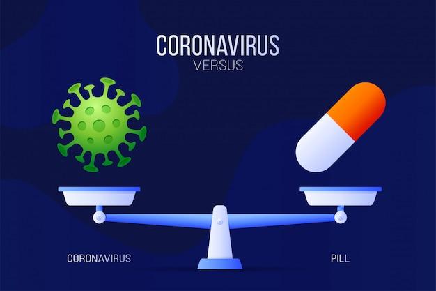 Coronavirus ou illustration de pilule médicale. concept créatif des échelles et des contre, d'un côté de l'échelle se trouve un virus covid-19 et de l'autre l'icône de la pilule. illustration plate.