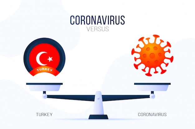 Coronavirus ou illustration de la turquie. concept créatif des échelles et des contre, d'un côté de l'échelle se trouve un virus covid-19 et de l'autre l'icône du drapeau de la dinde. illustration plate.