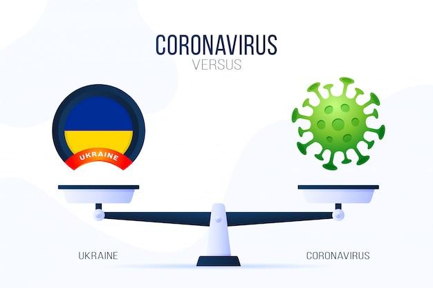 Coronavirus ou illustration de l'ukraine. concept créatif des échelles et des contre, d'un côté de l'échelle se trouve un virus covid-19 et de l'autre l'icône du drapeau ukrainien. illustration plate.