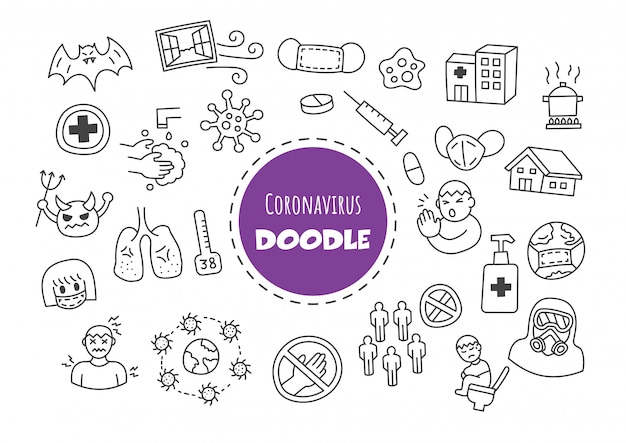 Coronavirus kawaii doodle
