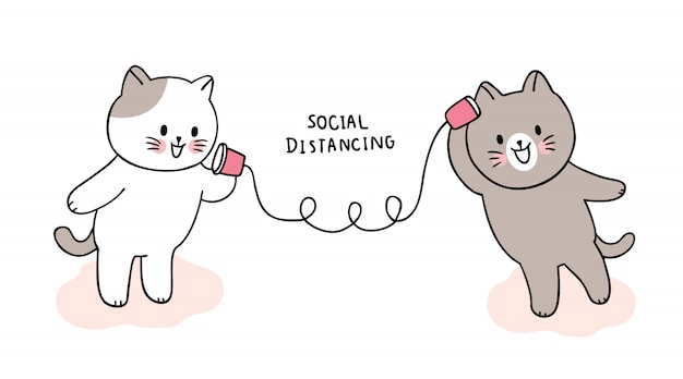 Coronavirus mignon de bande dessinée, covid-19, chats parlant, distanciation sociale.