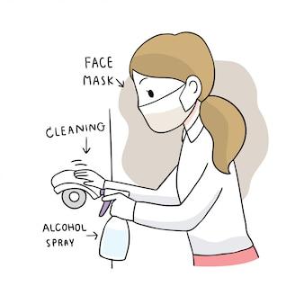 Coronavirus mignon de bande dessinée, covid-19, femme nettoyer une porte