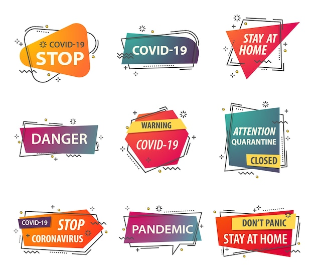 Coronavirus stay at home arrêt du virus covid et mise en quarantaine des bannières d'attention en ligne mince