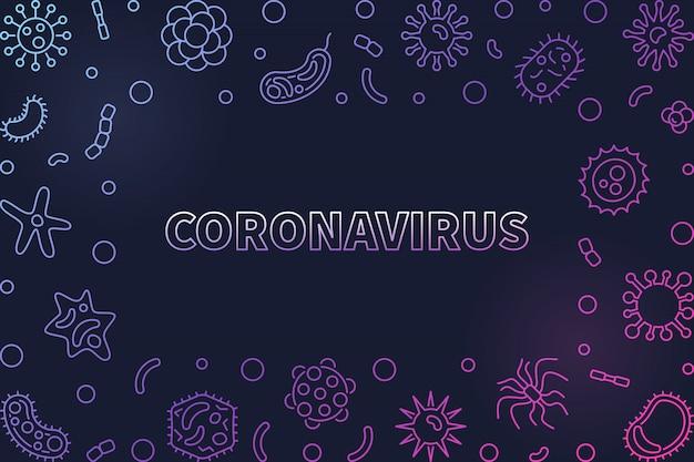 Coronavirus virus linéaire icônes ou cadre coloré