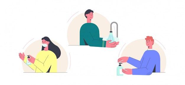 Coronovirus de désinfection. bonne fille de traitement des mains en masque masque met le gel désinfectant ses mains.