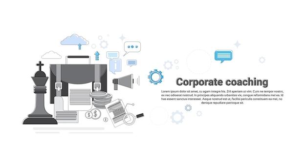 Corporate coaching management affaires web bannière illustration vectorielle