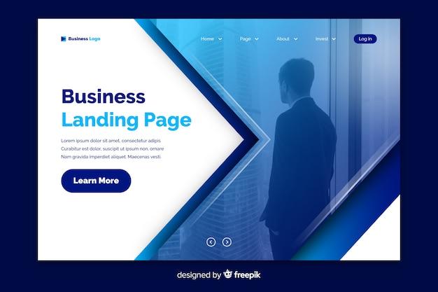 Corporate landing page avec modèle de photo
