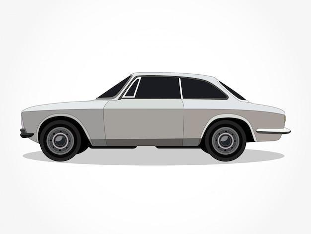 Corps détaillé et les jantes d'un dessin animé de voiture de couleur plat