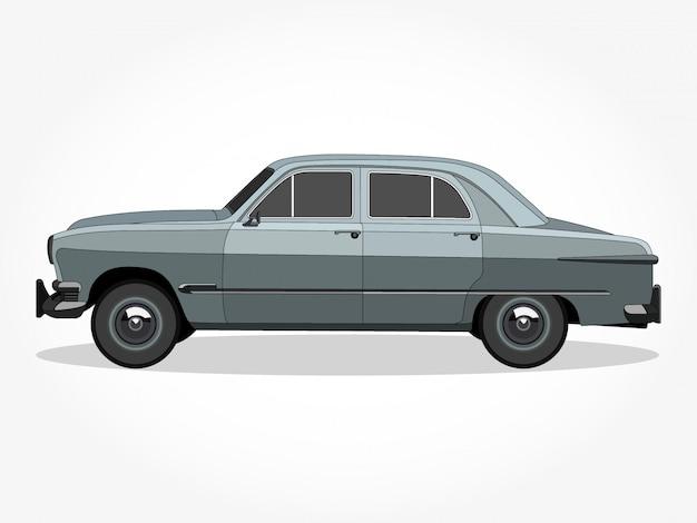 Corps détaillé et les jantes d'une illustration de dessin animé de voiture classique plat couleur avec effet de trait et d'ombre noir